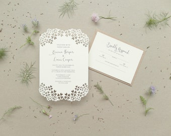 Hydrangea Papercut Wedding Invitation Set