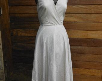 Vintage Beige Ramie Warp Dress - Size S 8 10 - Midi Skirt