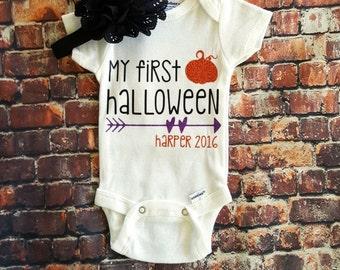 My first halloween onesie, Halloween onesie, Personalized Halloween onesie,