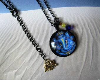 Blue Ganesh necklace, Yellow jade, Ganesh necklace, Indian necklace, Indian jewelry, Ganesha, Hindu necklace, blue Ganesha, elephant jewelry