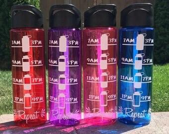 Water Bottle // Water intake Tracker // Gym // Hydration Tracker // 24 oz Plastic Bottle // Add Name Monogram Saying // CUSTOM COLORS