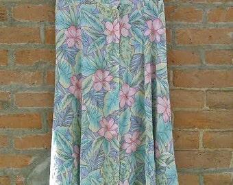 Vintage Floral Print Pastel Skirt