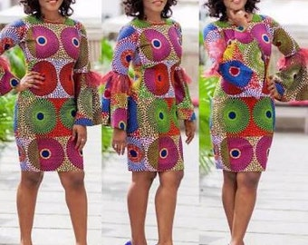 Fitted Ankara Dress with Bell Sleeves