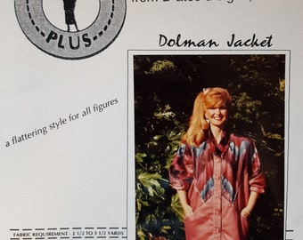 "Jacket Pattern, ""Dolman Jacket"", by D'ates d'signs Inc, Dolman Sleeves, Sewing, Pattern, Wearable Art, Includes Size S M L, Vintage 1993"