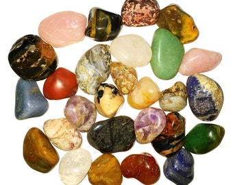 Two Pounds of Natural Tumbled Stones with Identification Sheet - Assorted Mix