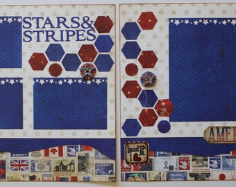 America Independence Day 4th of July Red White and & Blue Stars Stripes Premade Completed Scrapbook Page Pages 12 x 12 Just Add Pictures