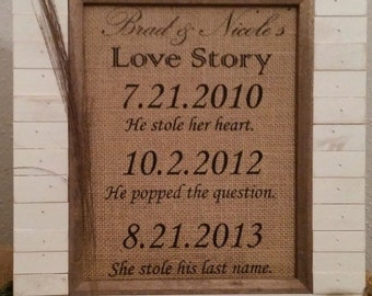 Personalized Burlap Print Love Story