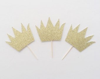 Wild One- Wild One Birthday- Wild One Crown- Crown Cupcake Toppers- First Birthday Topper- Cake Smash Topper- Wild One Party Decor- Birthday