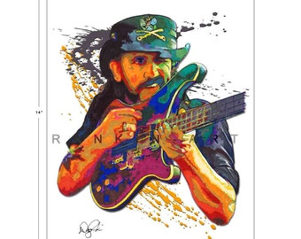 Lemmy Kilmister of Motorhead,  11x14 in, 29x36 cm, Signed Art Print w/ COA
