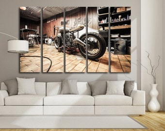 Motorcycle Wall Art Multi Panels Set Retro Wall Art Motorcycle Canvas Art Repair shop Wall Art