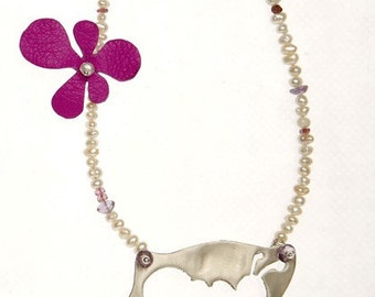 Necklace Sterling Silver Ant with Pearls Gem Stones & Leather