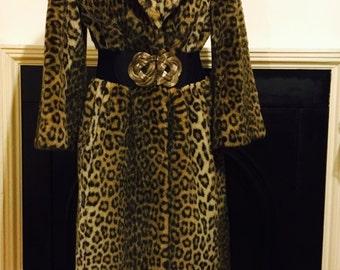 Striking vintage faux fur leopard coat