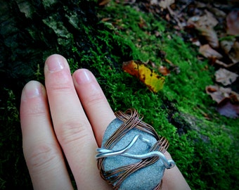Handmade Statement Ring with Natural Stone