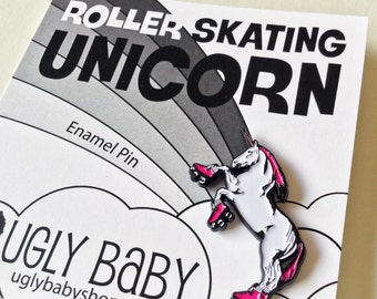 Enamel Pin: Roller Skating Unicorn, Unicorn Pin, Roller Derby Pin, Roller Derby Fan, Roller Derby Gift, Unicorn Party, Enamel Lapel Pin