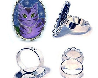 Moon Cat Ring Astra Purple Cat Celestial Cat Stars Fantasy Cat Art Cameo Ring 25x18mm Gift for Cat Lovers Jewelry
