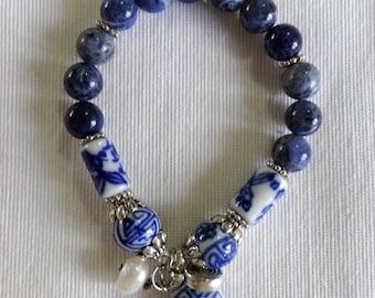 Navy Blue Sodalite Charm Bracelet