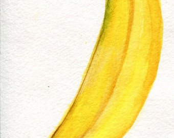 Bananas watercolor painting original 4 x 6, original fruit art,  watercolor painting of banana, SharonFosterArt Farmhouse Decor
