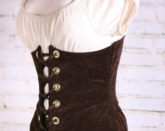 All Sizes Brown Chenille  Wench Corset