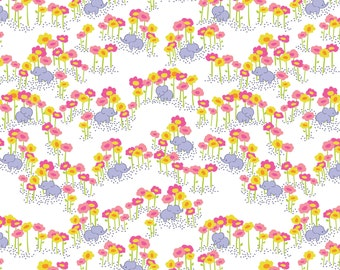 ON SALE Baby Elephants Fabric - Pygmy Elephants Pink by Katy Tanis - The Sundaland Jungle Collection - Blend Fabrics - One Yard Fabric