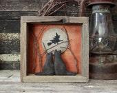 Primitive Halloween Cats Gazing Moon Assemblage Shadow Box, Diorama, Wall Hanging, Halloween Folk Art, Halloween Decoration