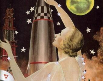 Ready to Hang Art, Narrative Collage, Mixed Media Wall Art, Original Mixed Media Art, Retro Space Art, Space Race Rocket Ship, Lunar Landing