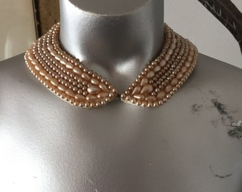 Vintage Pearl Collar Choker Light Pink