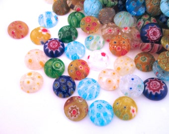 12mm Lampwork Millefiori Glass Cabochons