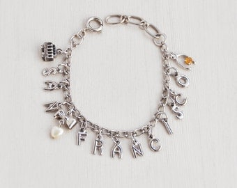 Vintage San Francisco Charm Bracelet - silvertone with 2 sterling silver charms - cable car and wishbone