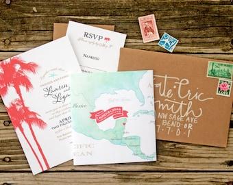 Mexico Wedding invitation - Tropical Palm Tree Wedding Invite with Mexico Map Wrap  - Cancun and Caribbean Destination -  Design Fee