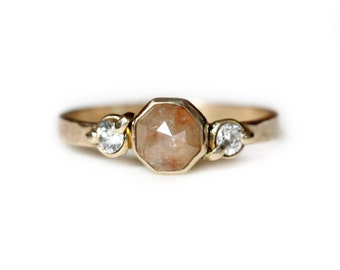 Diamond Engagement Ring - Unique Engagement Ring - Peach Diamond Ring - Rose Cut Diamond Ring