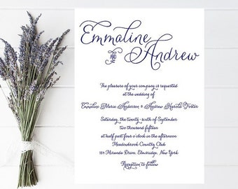 Navy Wedding Invitation - Fancy Script, Traditional, Classic Wedding Invitation