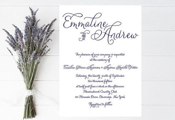 Navy Wedding Invitation - Fancy Script, Traditional, Classic Wedding Invitation