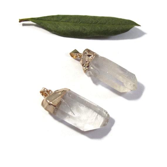 One Gemstone Charm, Clear Quartz Point, Gold Gemstone Pendant with Rock Crystal Point, Jewelry Supplies (C-Qu19)