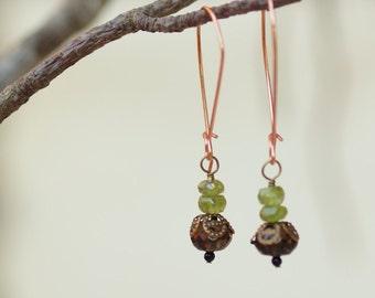 Earrings READY To SHIP Boho Jewelry Dangle Earrings Drop Earring Semiprecious Stones Gift for Her Gift for Girlfriend Smoky Quartz Copper