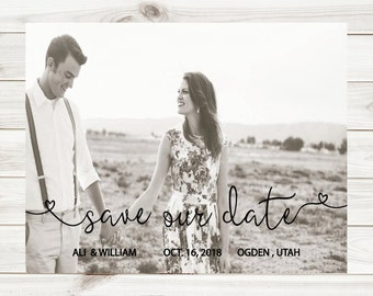 Photo Save the Date card, wedding printable, digital invitation,  DIY invitation, PDF, heart font,