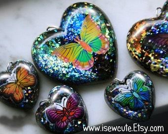 Butterfly Necklace, Glitter Heart Resin Pendant, Iridescent Dark Glitter Heart, Butterfly Statement Necklace, Summer Accessories by isewcute
