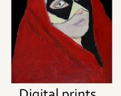 Red Cloaked Woman Harlequin Masquerade Mask Portrait Digital Print. Yellow Black Diamonds. Halloween Art
