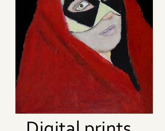 Red Cloaked Woman Harlequin Masquerade Mask Portrait Painting Print. Digital Print. Gothic Print. Halloween Art. Miz Katie Art