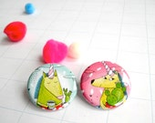 "Set of 2 badges ""unicorn"""