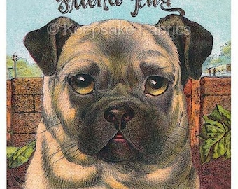 Friend Pug Reproduction Fabric Crazy Quilt Block Free Shipping World Wide