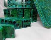 Domino Set 'Algae in Azure Waters' Hand Painted 28 Piece Standard Size in Hand Painted Storage Box  alcohol inks, instruction booklet, green