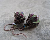Flower Earrings with Vintage Enameled Flowers, Crystal, and Antique Copper
