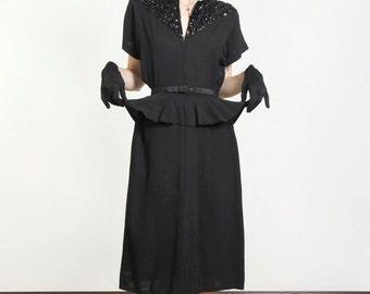 SALE- 1940s Peplum Dress Sequin Detail