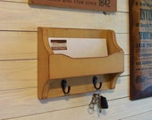 Mail and Key Holder Cubby Shelf Metal Hooks Handmade Wooden Organizer for Office, Kitchen, Mud Room or Entryway / Color and Finish Choice