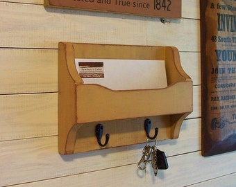 Mail and Key Organizer Cubby Shelf Metal Hooks Handmade Wooden Organizer for Office, Kitchen, Mud Room or Entryway / Color and Finish Choice