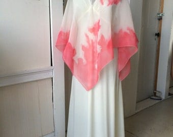 Vintage 1970s Angelic Cream Knit Maxi Dress with Sheer Screen Printed Floral Poncho Cape Size 5 - 6
