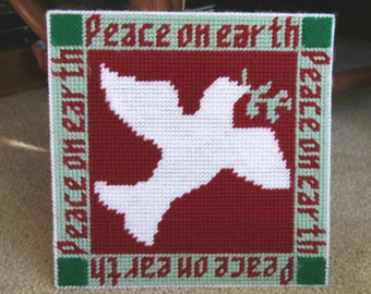 PEACE ON EARTH: Vintage Needlepoint Handmade Art, Yarn on Plastic Canvas, White Dove, Maroon Red & Mint Green, Christmas Holiday Embroidery