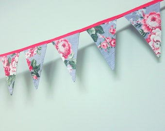 Pennant Banner Flag Garland Bunting Wall Decor, 1940s Floral Textile, Pink, Gray & Green Flowers on a Blue Background