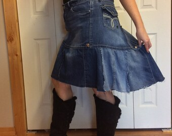 XL UpCycled Blue Jean Skirt/Plus Size/Denim Skirt/Short/Knee Length/Faded/Distressed/Patchwork/Stretch/Recycled Jeans/Repurposed Clothing