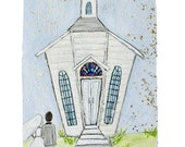 Going to the chapel WEDDING bride and groom- PRINT (matted to 11x14)